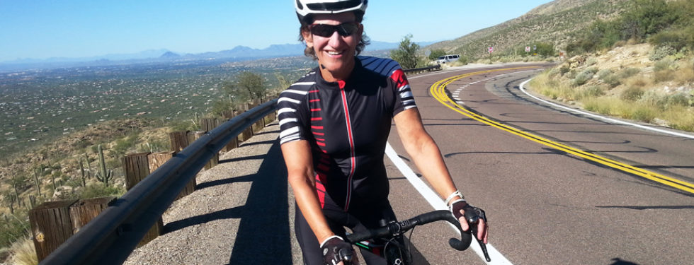 Kathleen Bober banner cycling on Mt. Lemmon