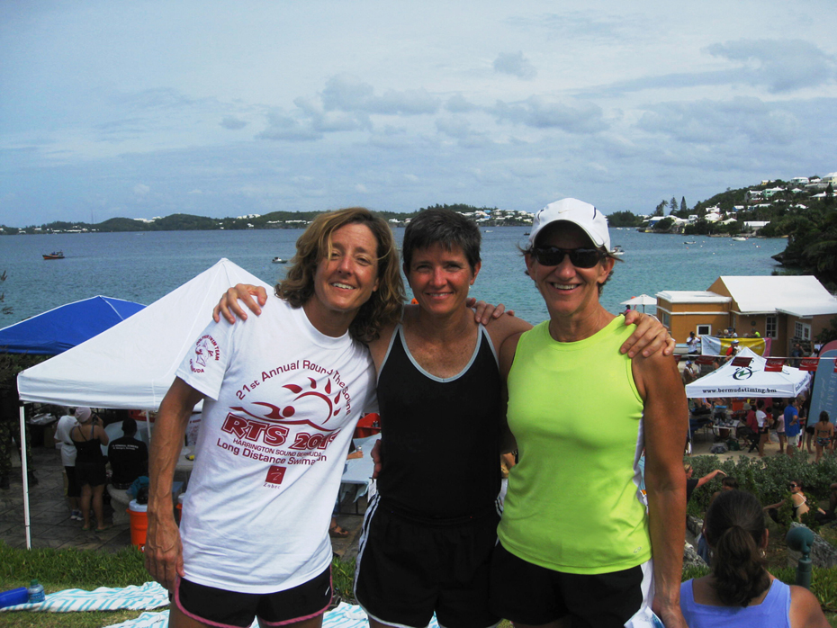Caroline Kavanagh, Suzanne Kavanagh, and me after the 2011 Bermuda Round-the-Sound Swimathon