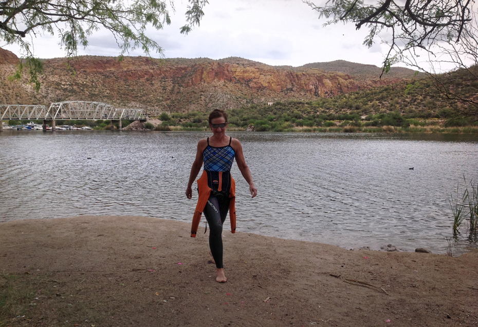 Kathleen Bober at Canyon Lake, Boulder Recreation Area, open water swim