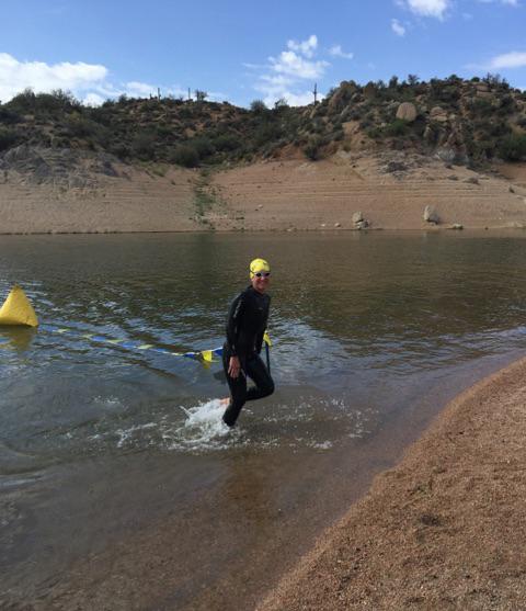 Kathleen Bober, at the finish of the Bartlett Lake AZ Open Water Swim 4K