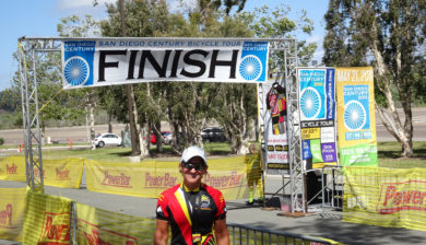 San Diego Century Ride 2016, Kathleen Bober at Finish Line