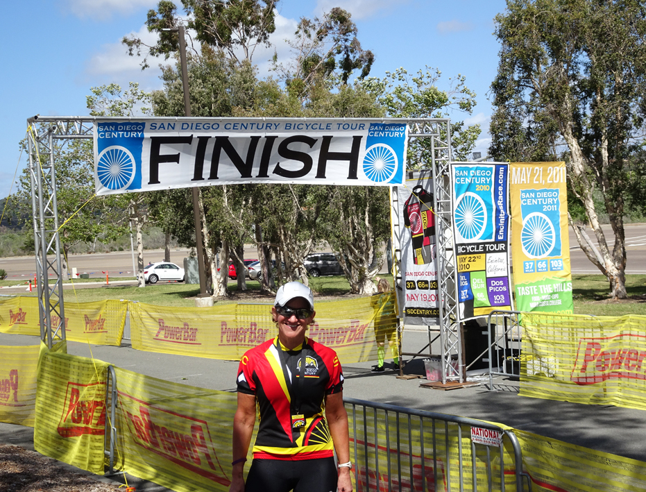 San Diego Century Ride 2016, Kathleen Bober at Finish Line