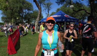 Kathleen Bober at finish of 2016 Tri for Acts of Kindness Sprint Triathlon