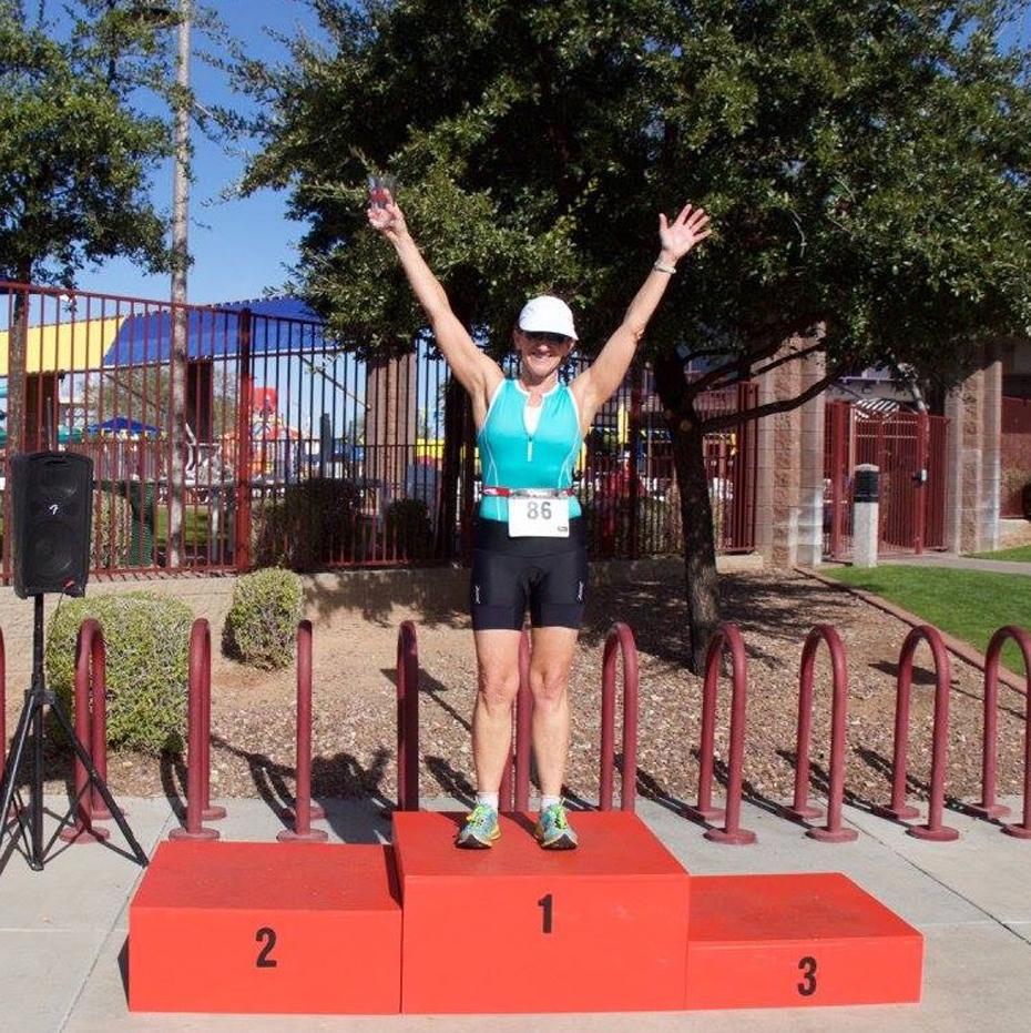 Kathleen Bober 1st place female 60-64, Anthem Holiday Classic Triathlon