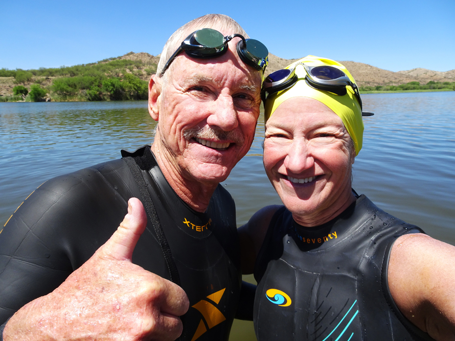 Kathleen Bober and Bill Daugherty after swimming 5 miles at Patagonia Lake State Park