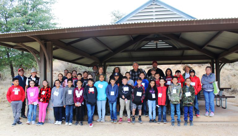 Kathleen Bober with a group of students from Mammoth Elementary STEM School on the Odyssey Program at Oracle State Park Center for Environmental Education