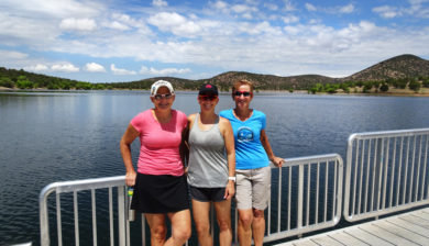 Parker Canyon Lake swim - Leanne Fahlgren, Stefanie Brown and Kathleen Bober