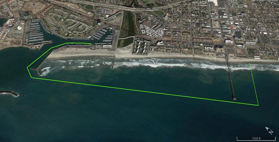 Oceanside Tiki Swim 7 - 2.4 mile course map KB