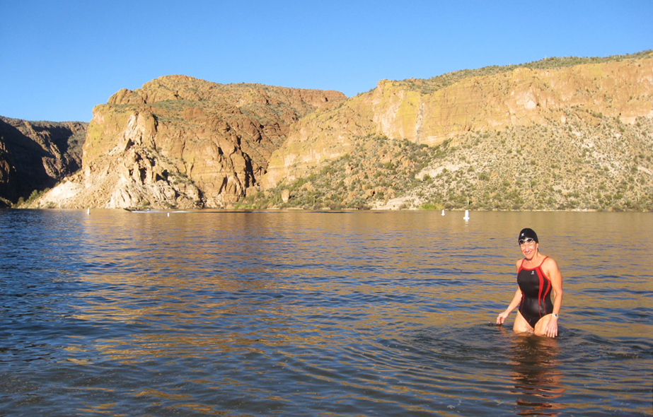 Kathleen Bober swimming at Canyon Lake Acacia recreation area