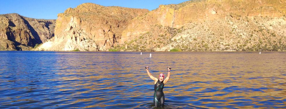 Kathleen Bober swimming at Canyon Lake Arizona